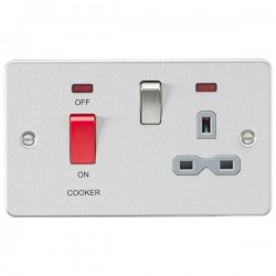 Knightsbridge Flat Plate Brushed Chrome DP Switch and 13A DP Switched Socket with Neon - Grey Insert