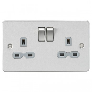 Knightsbridge Flat Plate Brushed Chrome 13A 2 Gang DP Switched Socket - Grey Insert