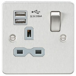 Knightsbridge Flat Plate Brushed Chrome 13A 1 Gang Switched Socket with Dual USB Charger - Grey Insert