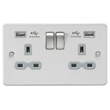 Knightsbridge Flat Plate Brushed Chrome 2 Gang 13A Switched Socket with Dual USB Charger - Grey Insert