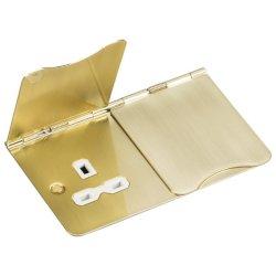 Knightsbridge Flat Plate Brushed Brass 13A 2 Gang Floor Socket - White Insert