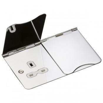 Knightsbridge Flat Plate Polished Chrome 13A 2 Gang Floor Socket - White Insert