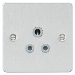 Knightsbridge Flat Plate Brushed Chrome 5A Unswitched Round Pin Socket - Grey Insert