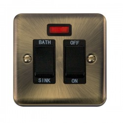 Click Deco Plus Antique Brass 20A Double Pole Sink/Bath Switch with Neon and Black Insert