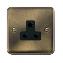 Click Deco Plus Antique Brass 5A Round Pin Socket with Black Insert