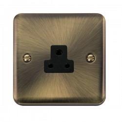 Click Deco Plus Antique Brass 2A Round Pin Socket with Black Insert