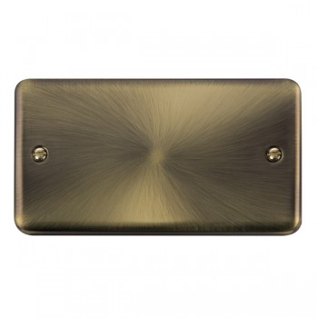 Click Deco Plus Antique Brass 2 Gang Blank Plate