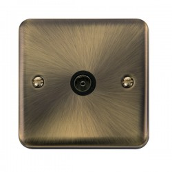 Click Deco Plus Antique Brass Single Coaxial Socket with Black Insert