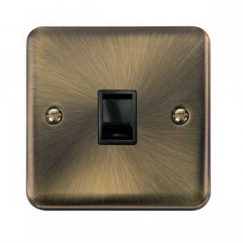 Click Deco Plus Antique Brass Single RJ11 Socket (Ireland/USA) with Black Insert