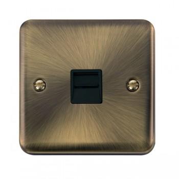 Click Deco Plus Antique Brass Single Telephone Master Socket with Black Insert