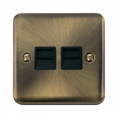 Click Deco Plus Antique Brass Twin Telephone Master Socket with Black Insert