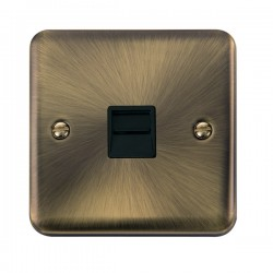 Click Deco Plus Antique Brass Single Telephone Secondary Socket with Black Insert