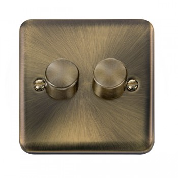 Click Deco Plus Antique Brass 2 Gang 2 Way 400W Dimmer Switch