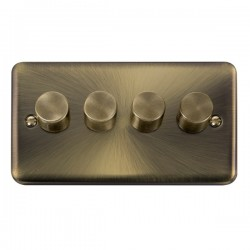 Click Deco Plus Antique Brass 4 Gang 2 Way 400W Dimmer Switch