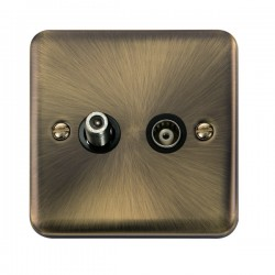 Click Deco Plus Antique Brass 1 Gang Isolated Satellite and Coaxial Socket with Black Insert