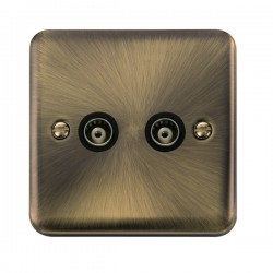 Click Deco Plus Antique Brass Twin Isolated Coaxial Socket with Black Insert
