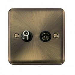 Click Deco Plus Antique Brass 1 Gang Satellite and Coaxial Socket with Black Insert