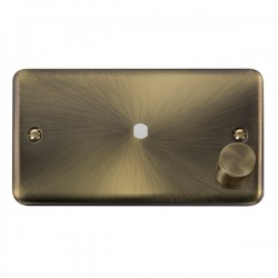 Click Deco Plus Antique Brass 2 Gang Single Aperture Dimmer Plate with Matching Knob