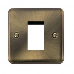 Click Deco Plus Antique Brass 1 Gang Single Aperture Plate