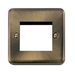 Click Deco Plus Antique Brass 1 Gang Twin Aperture Plate