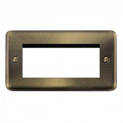 Click Deco Plus Antique Brass 2 Gang Quad Aperture Plate