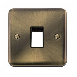 Click Deco Plus Antique Brass 1 Gang Single Aperture Plate with Black Insert