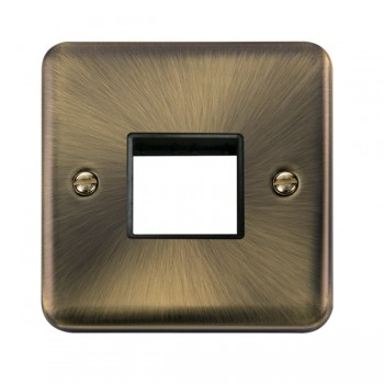Click Deco Plus Antique Brass 1 Gang Twin Aperture Plate with Black Insert