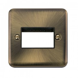 Click Deco Plus Antique Brass 1 Gang Triple Aperture Plate with Black Insert
