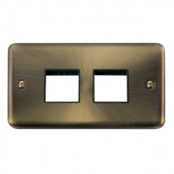 Click Deco Plus Antique Brass 2 Gang 2x2 Aperture Plate with Black Insert