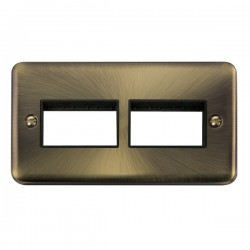 Click Deco Plus Antique Brass 2 Gang 2x3 Aperture Plate with Black Insert