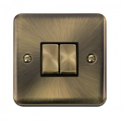 Click Deco Plus Antique Brass 2 Gang 10AX 2 Way Ingot Switch with Black Insert