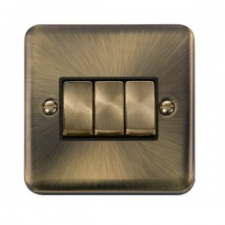 Click Deco Plus Antique Brass 3 Gang 10AX 2 Way Ingot Switch with Black Insert