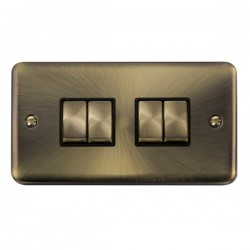 Click Deco Plus Antique Brass 4 Gang 10AX 2 Way Ingot Switch with Black Insert