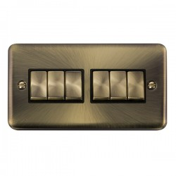 Click Deco Plus Antique Brass 6 Gang 10AX 2 Way Ingot Switch with Black Insert