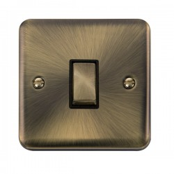 Click Deco Plus Antique Brass 1 Gang 10AX Intermediate Ingot Switch with Black Insert