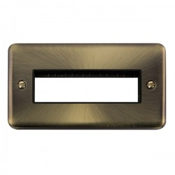 Click Deco Plus Antique Brass 2 Gang 6 In-Line Aperture Plate with Black Insert