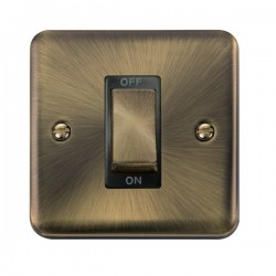 Click Deco Plus Antique Brass 1 Gang 45A Double Pole Ingot Switch with Black Insert