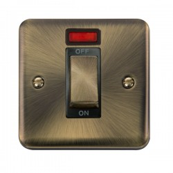 Click Deco Plus Antique Brass 1 Gang 45A Double Pole Ingot Switch with Neon and Black Insert