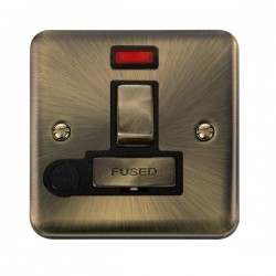 Click Deco Plus Antique Brass 13A Fused Ingot Switched Connection Unit with Flex Outlet, Neon, and Black Insert