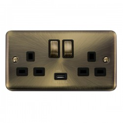 Click Deco Plus Antique Brass 2 Gang 13A Ingot Switched Socket with USB Outlet and Black Insert