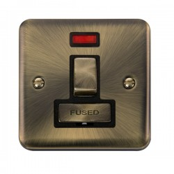 Click Deco Plus Antique Brass 13A Fused Ingot Switched Connection Unit with Neon and Black Insert