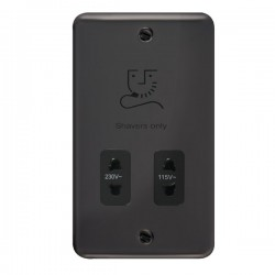 Click Deco Plus Black Nickel 115/230V Dual Voltage Shaver Socket with Black Insert