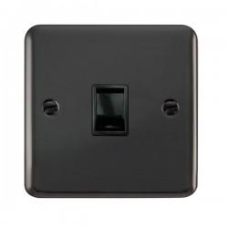 Click Deco Plus Black Nickel Single RJ11 Socket (Ireland/USA) with Black Insert