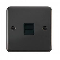 Click Deco Plus Black Nickel Single Telephone Master Socket with Black Insert