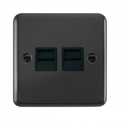 Click Deco Plus Black Nickel Twin Telephone Master Socket with Black Insert