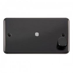 Click Deco Plus Black Nickel 2 Gang Single Aperture Dimmer Plate with Matching Knob