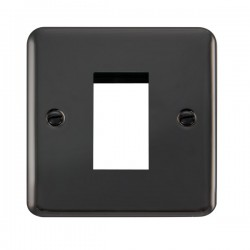 Click Deco Plus Black Nickel 1 Gang Single Aperture Plate