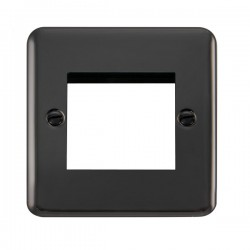 Click Deco Plus Black Nickel 1 Gang Twin Aperture Plate