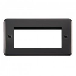 Click Deco Plus Black Nickel 2 Gang Quad Aperture Plate