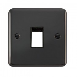 Click Deco Plus Black Nickel 1 Gang Single Aperture Plate with Black Insert